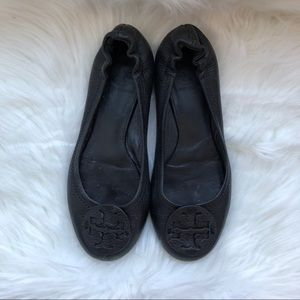 TORY BURCH • black pebbled leather reva flats